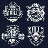 Baseball And Soccer Clubs Logotypes With Ferocious Angry Gorilla Bear Black Panther Bull Mascots In  poster