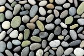 Different Colorfull Small Sea Stones Isolated On Black Background. Background Of Sea Stones. Ocean S poster