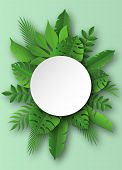Paper Tropical Leaves. Papercut Summer Beach Exotic Pulm Decoration Vector Palm Leaf In Cut Round Ba poster