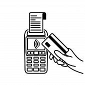 Vector Outline Of Nfc Payments. Pos Terminal Confirms Contactless Payment From Credit Card. Contactl poster