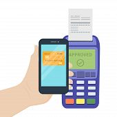 Vector Illustration Flat Design Concept Contactless Payments With Smart Phone. Contactless Payment C poster