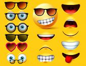Emoticons With Sunglasses Vector Creation Kit. Emojis And Emoticon Head Face Kit Eye And Mouth In Su poster