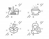 Spanner, Household Service And Coffee Cup Line Icons Set. Collagen Skin Sign. Repair Service, Cleani poster