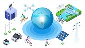 Save The Planet. Isometric Alternative Sources, Conservation Of Ecology. Vector Earth Electric Cars, poster