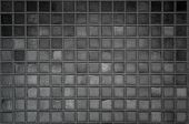 Pattern Clean Grid Uneven Design. Dark Ceramic Tiles Texture Background. Black And White, Black Back poster