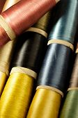 Bobbins of colorful silk thread