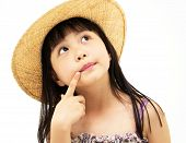 Beautiful asian little girl thinkig