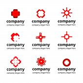 stock photo of pharmaceutical company  - vector stylized red white logo medical pharmaceutical companies - JPG