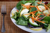 stock photo of roughage  - Mixed Salad on White Plate with mixed greens cucumber brocolli squash and carrots - JPG