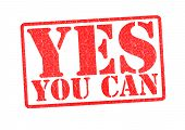 image of yes  - YES YOU CAN Rubber Stamp over a white background - JPG