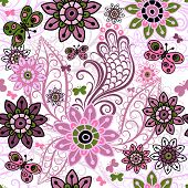 stock photo of lilas  - Seamless spring motley pattern with colorful vintage butterflies and flowers  - JPG