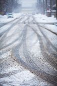 image of icy road  - Snow - JPG