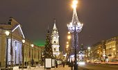 stock photo of prospectus  - Nevskiy prospectus avenue in electric Christmas decoration and New Year  - JPG