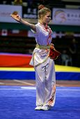KUALA LUMPUR - NOV 03: Juliette Vauchez of France shows her fighting style in the 'changquan compuls