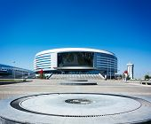 MINSK, BELARUS - JULY 04 - Minsk Arena on July 4, 2013 in Belarus. Ice Hockey Stadium.