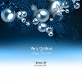 picture of blue spruce  - Elegant  background with Christmas garland - JPG