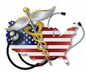 stock photo of diagnostic medical tool  - Stethoscope Listening to USA Flag Country Map Heartbeat with Rod of Caduceus Medical Symbol on White Background Illustration - JPG