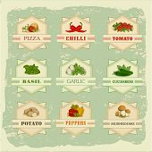 foto of cayenne pepper  - vegetables set labels - JPG