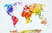 picture of continents  - Watercolor world map - JPG