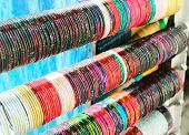 stock photo of muni  - Indian Bracelets on Bazar in New-Delhi. India
