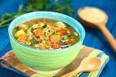 stock photo of leek  - Vegetarian quinoa soup with carrot potato leek and tomato sprinkled with parsley and scallion in colorful bowl 