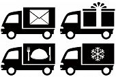 image of food truck  - set black truck with snowflake - JPG