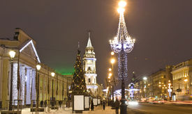 pic of prospectus  - Nevskiy prospectus avenue in electric Christmas decoration and New Year  - JPG