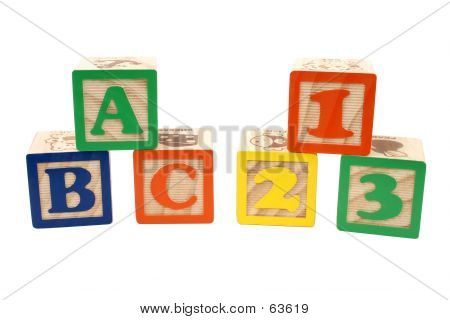 ABC And 123 Blocks In Stacks Over White poster