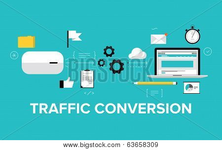 Traffic Conversion Flat Illustration Concept poster