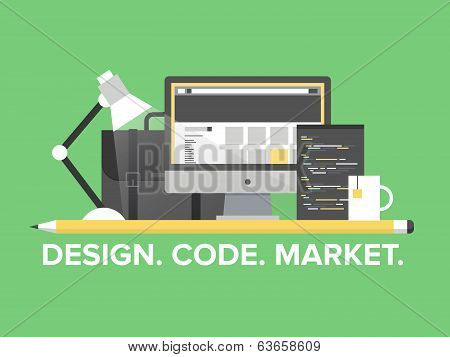 Website Programming Management Flat Illustration poster