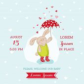 Baby Arrival or Shower Card - Bunny with Umbrella Illustration - in vector
