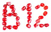 stock photo of b12  - Vitamin B12 sign made of pomegranate seeds - JPG