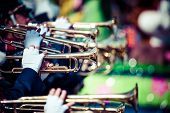 foto of saxophone player  - Brass Band in uniform performing in USA - JPG