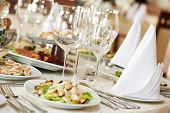 pic of catering  - catering services background with snacks and glasses of wine on bartender counter in restaurant - JPG
