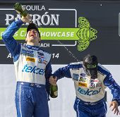 Long Beach, CA - Apr 12, 2014:  Scott Pruett and Memo Rojas, hold off the rest of the field to win t