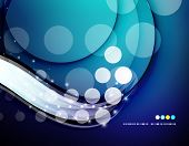 Futuristic white wave design on color background with circles