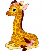 Illustration of little cute giraffe Calf with bow. Raster version.