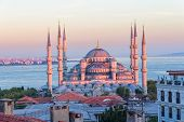 foto of cupola  - Blue mosque in glorius sunset - JPG