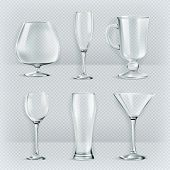 stock photo of tumbler  - Set of transparent glasses goblets - JPG