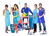 stock photo of broom  - Group of professional cleaners - JPG