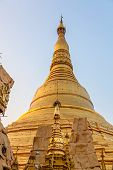 stock photo of yangon  - The Shwedagon Pagoda detail of the stupa and big diamond bud on the top of it - JPG