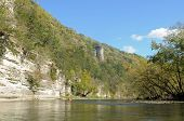 stock photo of chimney rock  - Chimney rock along the upper Iowa river - JPG
