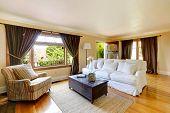 image of windows doors  - Ivory living room with curtained windows hardwood floor - JPG