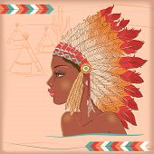 stock photo of indian chief  - Vector american indian beautiful girl - JPG