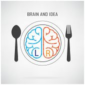 stock photo of right brain  - Creative left brain and right brain Idea concept background business concept - JPG