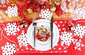 Serving Christmas table close-up