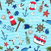stock photo of shell-fishes  - Nautical themed vector seamless pattern in retro style with a lighthouse  anchor  fish  ships wheel  palm tree  starfish  boat  seagulls  life ring  message in a bottle and shells on a turquoise sea - JPG