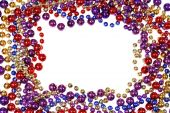 picture of mardi-gras  - border frame of Mardi Gras bead necklaces isolated on white - JPG