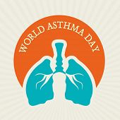 stock photo of asthma  - World Asthma Day sticker - JPG