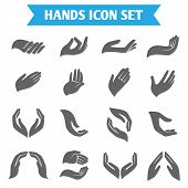 stock photo of applause  - Open empty hands holding protect giving gestures icons set isolated vector illustration - JPG